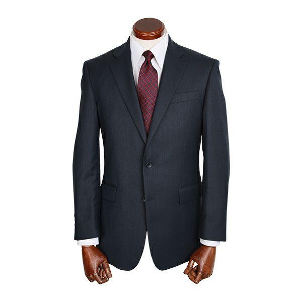 【WEB限定/OUTLET】【JASLY】スペアパンツ付き/2釦シングルスーツ/ネイビー×ソリッド
