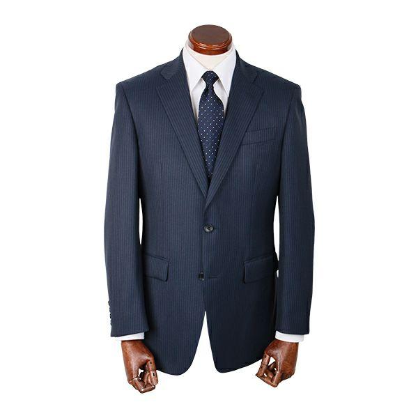 【WEB限定/OUTLET】【JASLY】スペアパンツ付き/2釦シングルスーツ/ネイビー×ストライプ