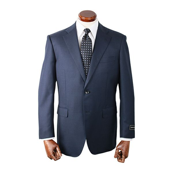 【WEB限定/OUTLET】【JOHNPEARSEWhite】スペアパンツ付き/2釦シングルスーツ/ネイビー×チェック