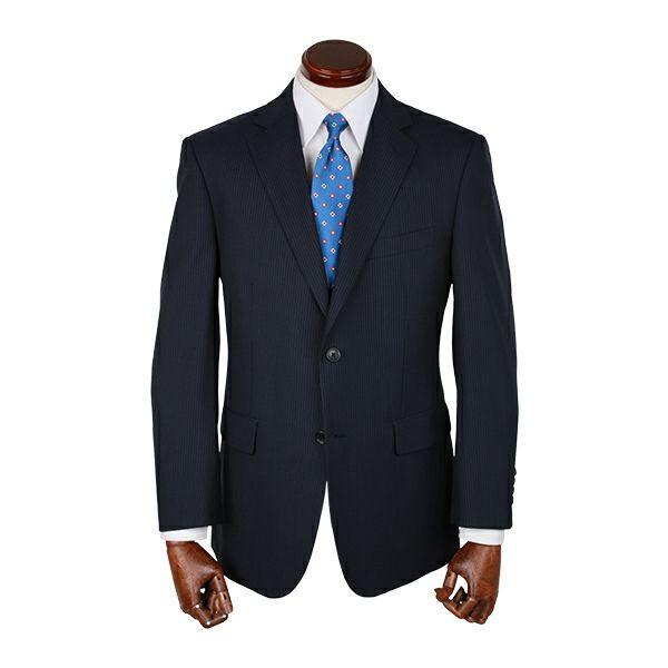 【WEB限定/OUTLET】スペアパンツ付き/2釦シングルスーツ/ネイビー×ストライプ