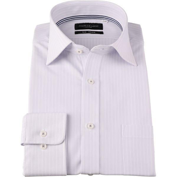 【JOHNPEARSEBlack】【ノーアイロン】ワイドカラードレスワイシャツ/グレー×ストライプ/ULTRAMOVE/ニット素材