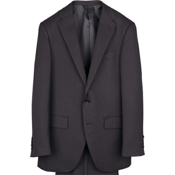 【WEB限定/OUTLET】【HIGHSPECMOTION】2釦シングルスーツ0タック/ブラック×シャドーストライプ/パンツウォシャブル