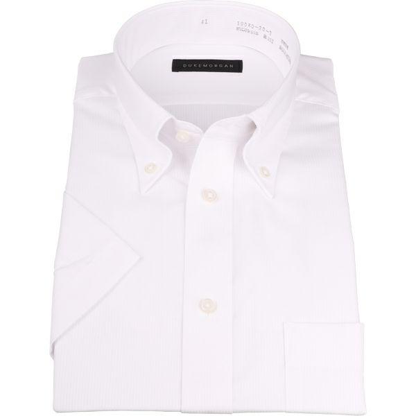 【WEB限定/OUTLET】【半袖】【DUKEMORGAN】ボタンダウンドレスシャツ/ホワイト×ドビーストライプ