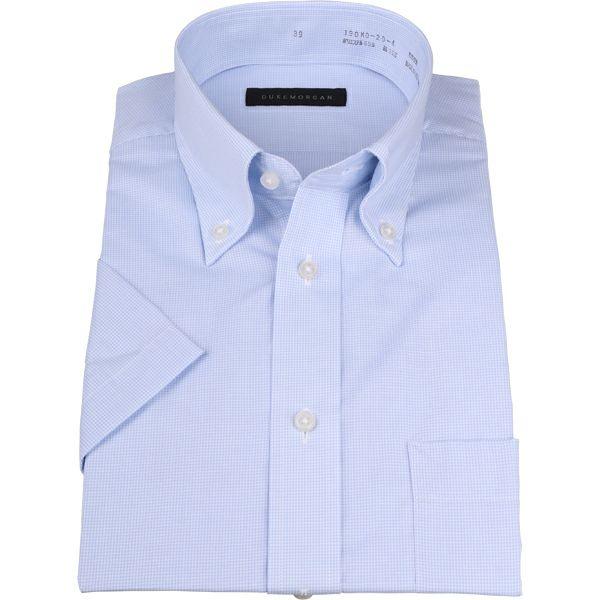 【WEB限定/OUTLET】【半袖】【DUKEMORGAN】ボタンダウンドレスシャツ/ブルー&ホワイト×チェック