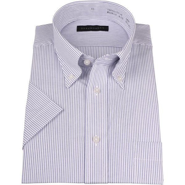【WEB限定/OUTLET】【半袖】【DUKEMORGAN】ボタンダウンドレスシャツ/ホワイト×ネイビーストライプ