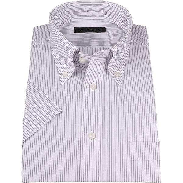 【WEB限定/OUTLET】【半袖】【DUKEMORGAN】ボタンダウンドレスシャツ/ホワイト×グレーストライプ