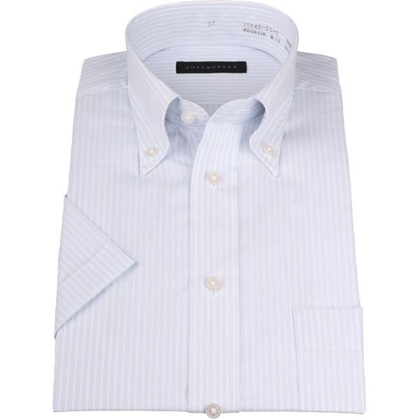 【WEB限定/OUTLET】【半袖】【DUKEMORGAN】ボタンダウンドレスシャツ/ブルー×ホワイトストライプ