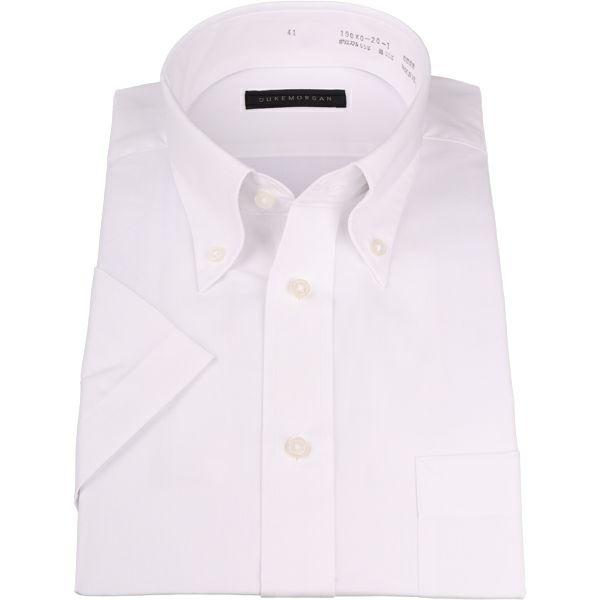 【WEB限定/OUTLET】【半袖】【DUKEMORGAN】ボタンダウンドレスシャツ/ホワイト×ソリッド