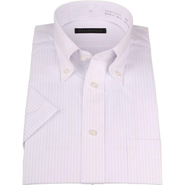 【WEB限定/OUTLET】【半袖】【DUKEMORGAN】ボタンダウンドレスシャツ/グレー×ホワイトストライプ