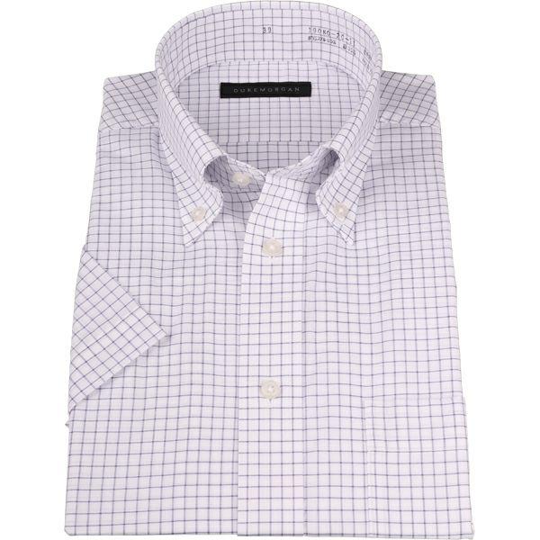 【WEB限定/OUTLET】【半袖】【DUKEMORGAN】ボタンダウンドレスシャツ/ホワイト×ネイビーチェック