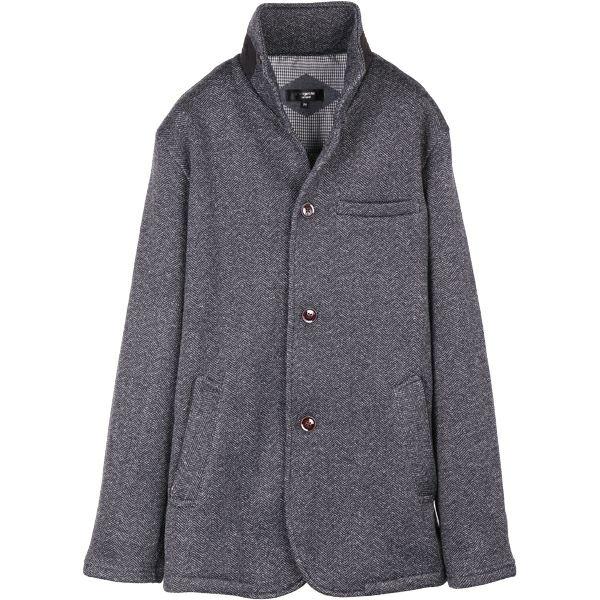 【grangestastandard】ハイスタンドカバーオールジャケット/ブラック×ヘリンボーンストライプ