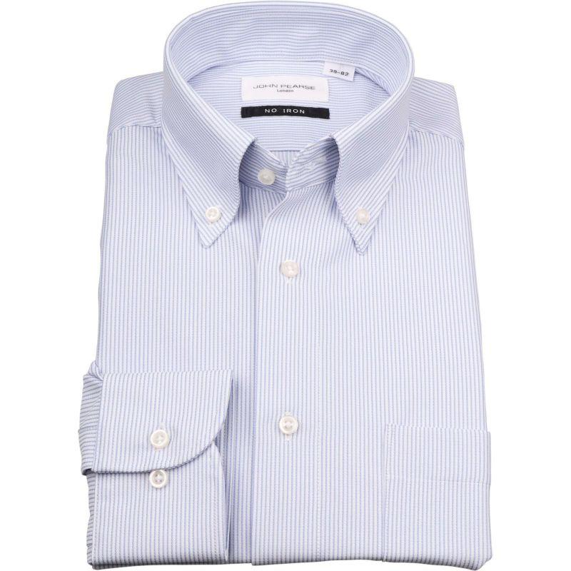 【JOHNPEARSEWhite】【ノーアイロン】ボタンダウンドレスワイシャツ/ホワイト×ブルーストライプ/ULTRAMOVE/ニット素材