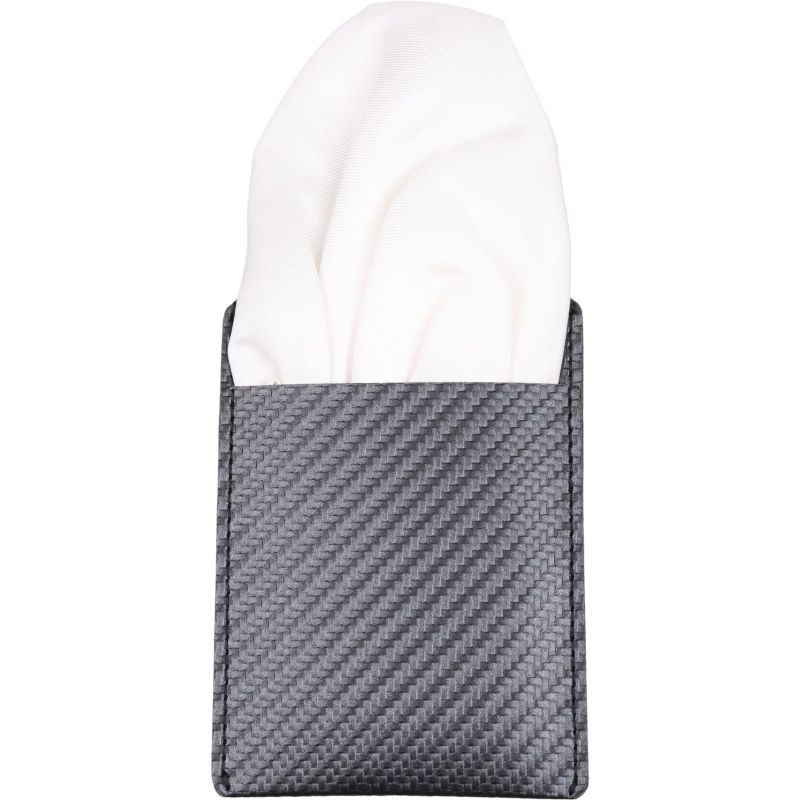 ワンタッチポケットチーフ/パフ/ホワイト×シルク