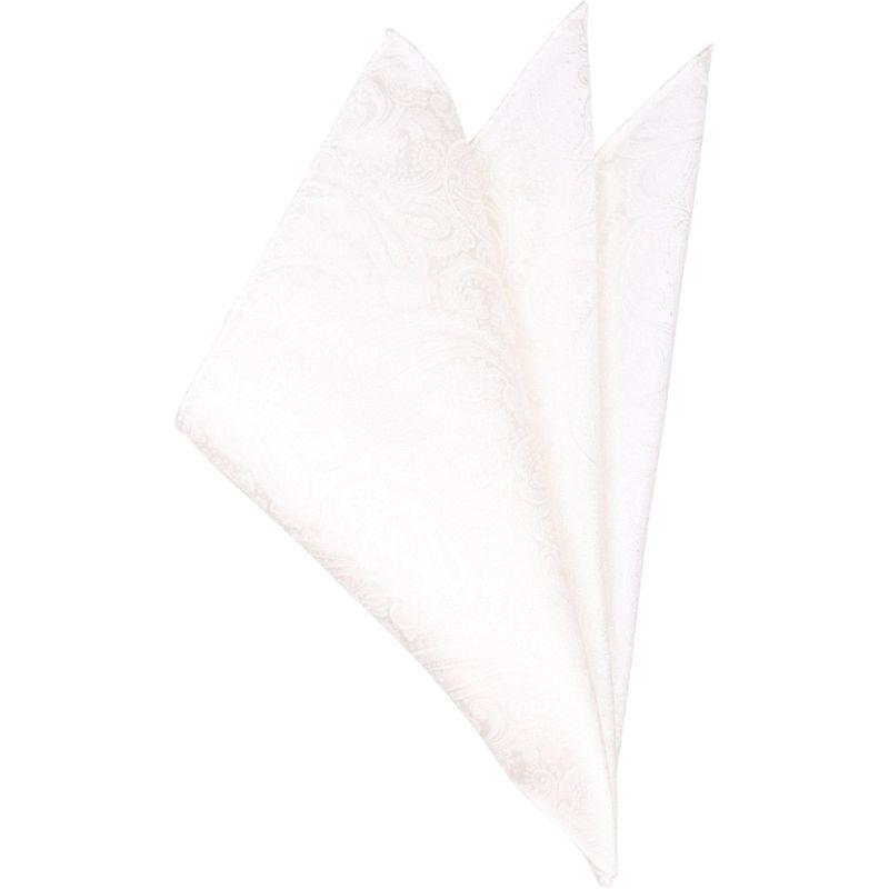 シルクポケットチーフ/ホワイト×ペイズリー
