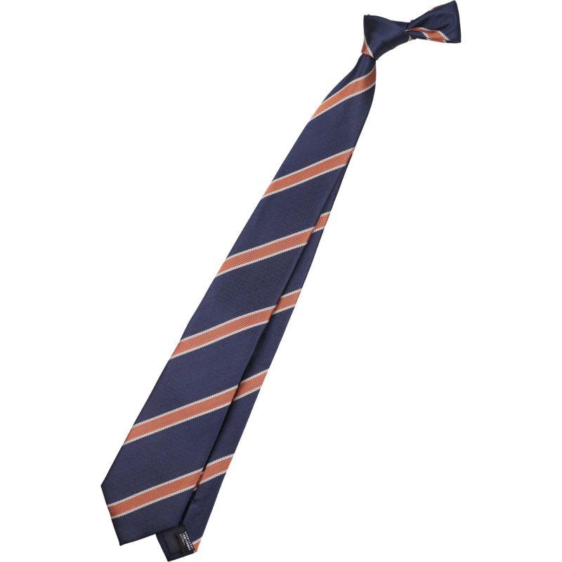 【JOHN PEARSE WHITE】シルクストライプ柄ネクタイ/8.0㎝幅/ネイビー×オレンジ