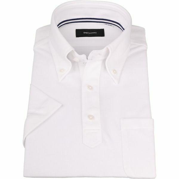 【半袖】【UNPRESSURE】【ノーアイロン】ボタンダウンBIZポロシャツ プルオーバータイプ/ホワイト/ULTRA MOVE/ニット素材