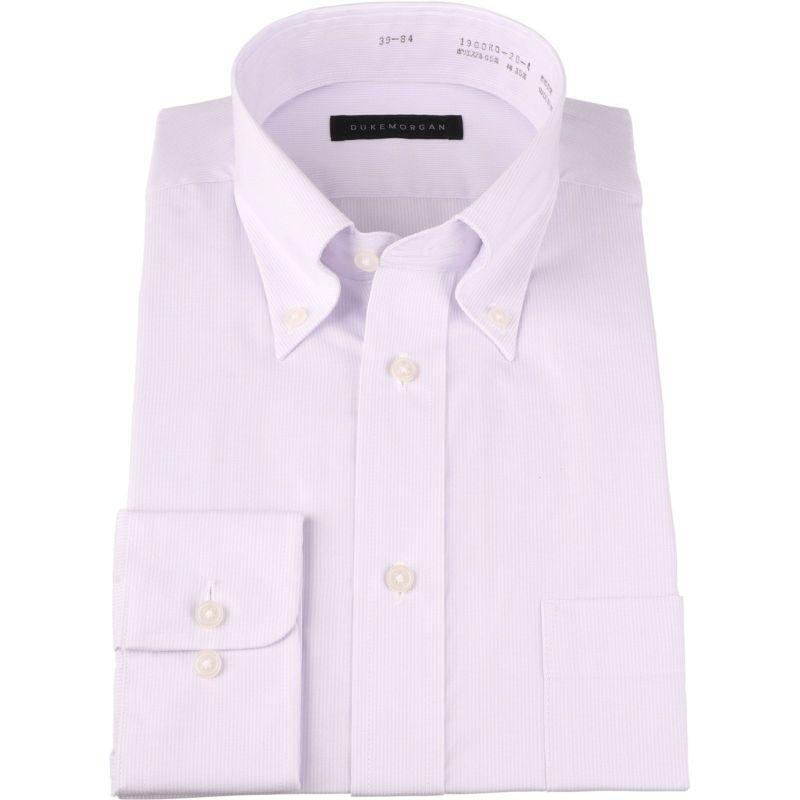 【WEB限定/OUTLET】【DUKEMORGAN】ボタンダウンドレスシャツ/ホワイト&パープル×ストライプ