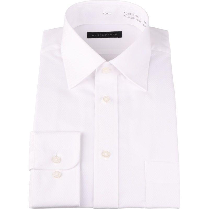【WEB限定/OUTLET】【DUKEMORGAN】ワイドカラードレスシャツ/ホワイト×ドビーツイツ