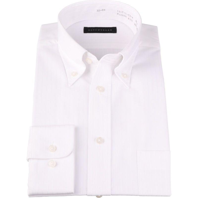 【WEB限定/OUTLET】【DUKEMORGAN】ボタンダウンドレスシャツ/ホワイト×ドビーストライプ