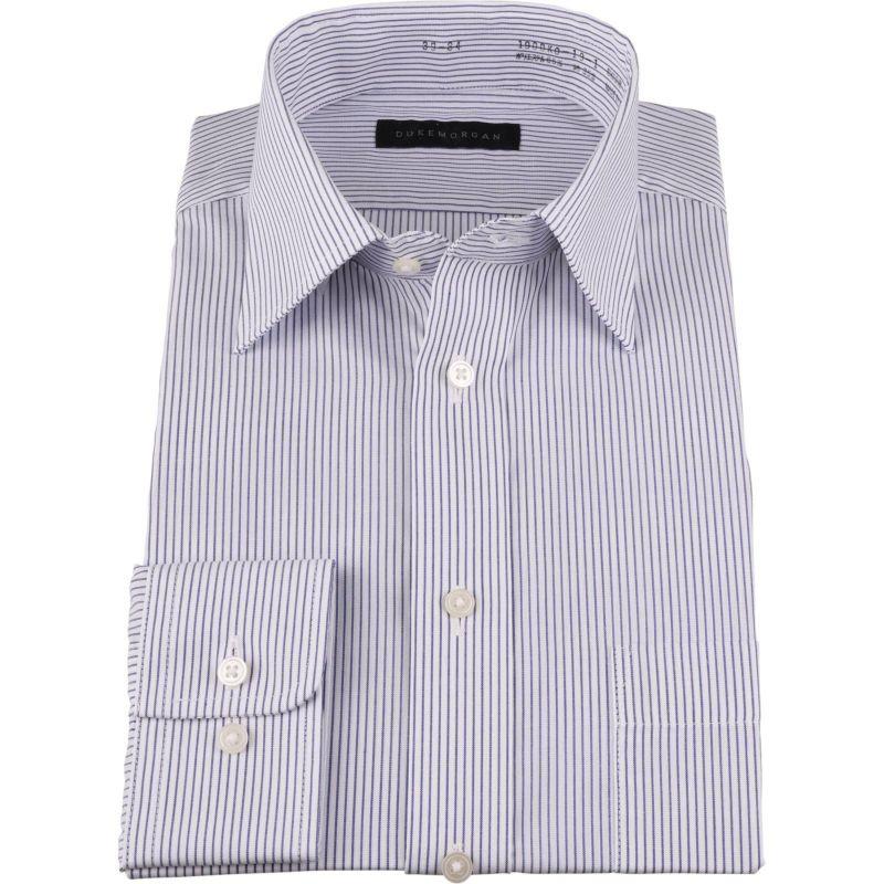 【WEB限定/OUTLET】【DUKEMORGAN】ワイドカラードレスシャツ/ホワイト×ネイビーストライプ